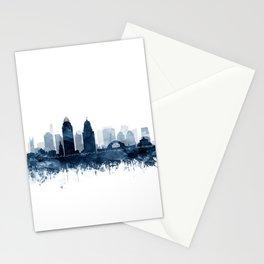 Cincinnati Skyline Blue Watercolor by Zouzounio Art Stationery Cards