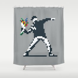 Flower Thrower Graffiti Pixel Shower Curtain