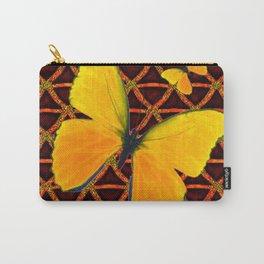 YELLOW BUTTERFLIES BROWN ART Carry-All Pouch