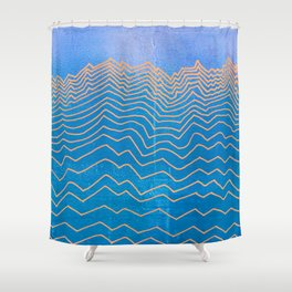 Abstract mountain line art in blue sky grunge textured vintage illustration background Shower Curtain