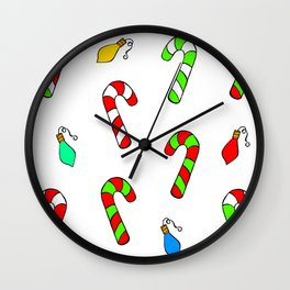 Christmas Lights and Candy Canes Wall Clock