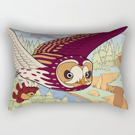 Short-eared Owl with Teddy Bear Rectangular Pillow