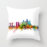 singapore Throw Pillows featuring Singapore Skyline by artPause