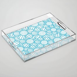 Field of daisies - teal Acrylic Tray