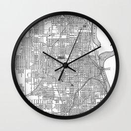 Vintage Map of Omaha Nebraska (1901) BW Wall Clock