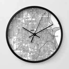 Vintage Map of Omaha Nebraska (1901) BW Wall Clock