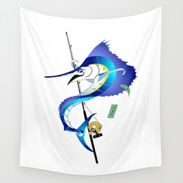 Sailfish Pole Dancer Wall Tapestry