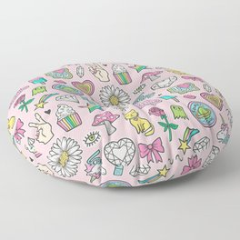 Patches Stickers 90's Doodle Unicorn Ice Cream, Rainbow, Hearts, Stars, Gemstones,Flowers Pink Floor Pillow