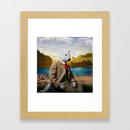 Mr. Wolf Relaxing at the Lake Framed Art Print