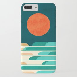 Chasing wave under the red moon iPhone Case