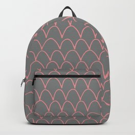 Modern gray pink trendy scallope pattern Backpack