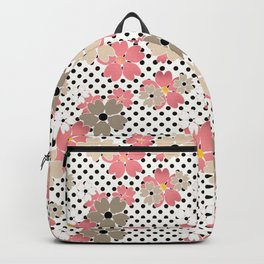 Pink beige flowers on a background of black peas. Backpack
