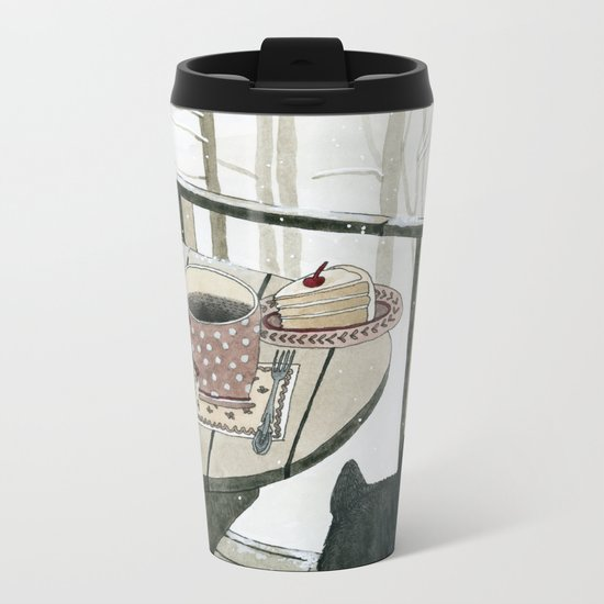 Winter Breakfast on the Porch Metal Travel Mug