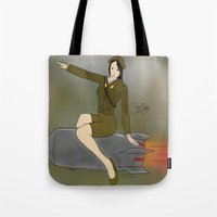 korean Tote Bags featuring Korean Bombshell by The Perkins Gallery