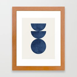Woodblock navy blue Mid century modern Framed Art Print