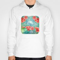 poppies Hoodies featuring Poppies by LudaNayvelt
