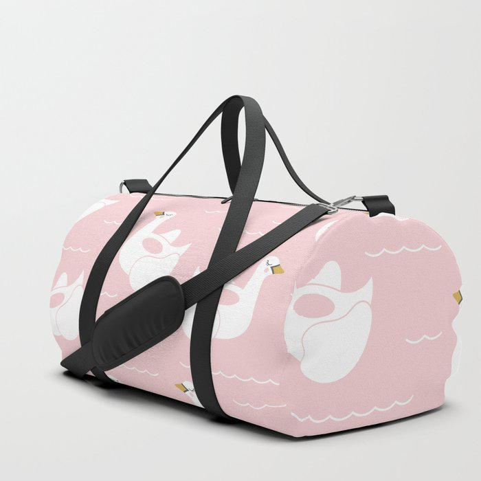 Swan Pool Float in Millenial Pink Duffle Bag