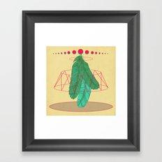 blugreenish circled feathers Framed Art Print