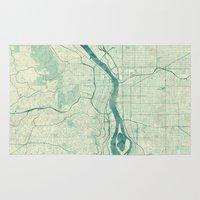portland Area & Throw Rugs featuring Portland Map Blue Vintage by City Art Posters