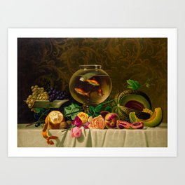 Goldfish bowl on a table with fruit and flowers Art Print