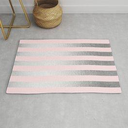 Stripes Moonlight Silver on Flamingo Pink Rug
