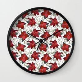 Poinsettia Christmas Star Wall Clock
