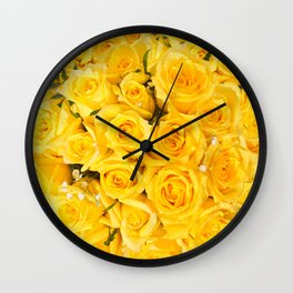 YELLOW ROSES CLUSTERED Wall Clock