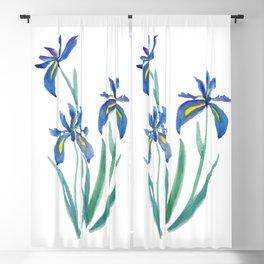 blue iris watercolor Blackout Curtain
