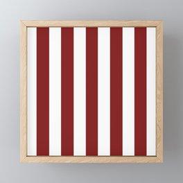Falu red - solid color - white vertical lines pattern Framed Mini Art Print
