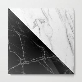 half black half white marble Metal Print