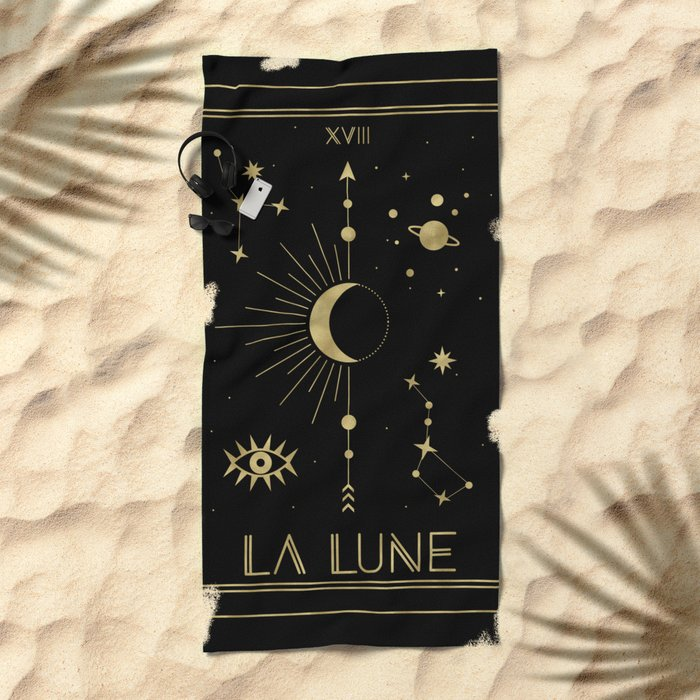 The Moon or La Lune Gold Edition Beach Towel