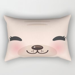 Kawaii funny cat with pink cheeks and winking eyes on pink background Rectangular Pillow