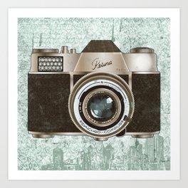Green Vintage Camera Art Art Print