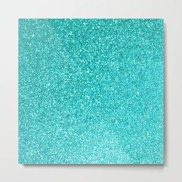 Aquamarine March Aries Birthstone Shimmering Glitter Metal Print