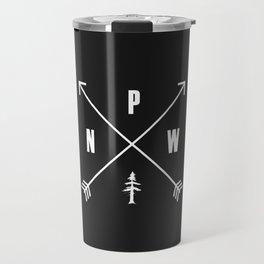 PNW Pacific Northwest Compass - White on Black Minimal Travel Mug