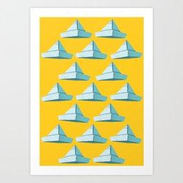 Newspaper Hat Pattern | Yellow and Blue | Illustration Art Print