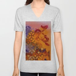 a piece of orange and purple Unisex V-Neck