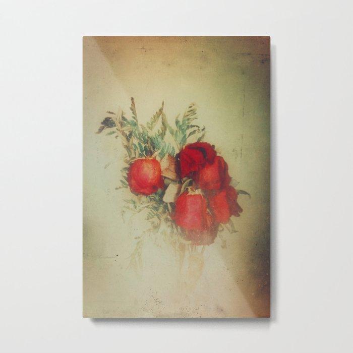 Vintage Red Roses Metal Print