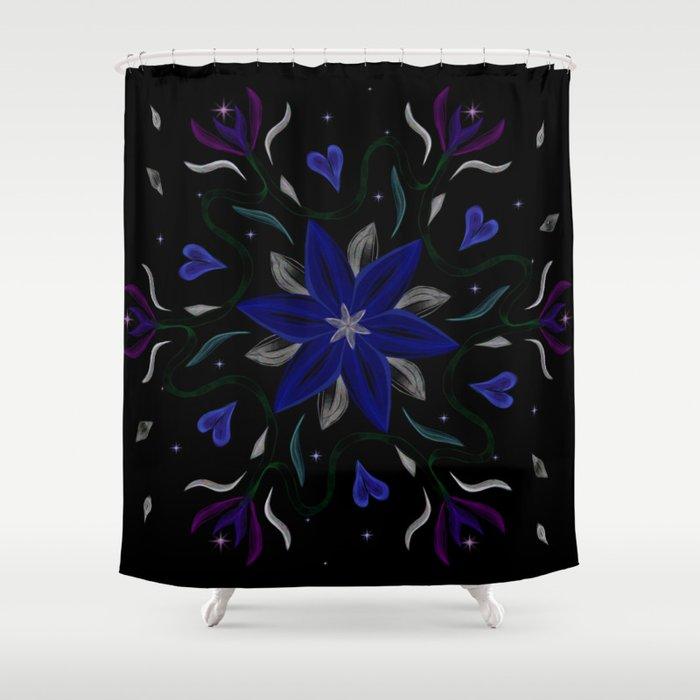 Blue Starflower Shower Curtain