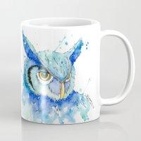 hedwig Mugs featuring Color Hedwig  by Simona Borstnar