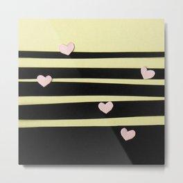 Pink Hearts on Black Paper Cut Metal Print