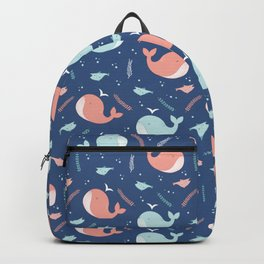 Sea whales pattern Backpack