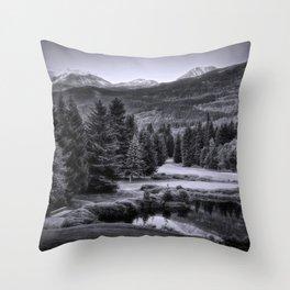 Whistler BC in Black & White Throw Pillow