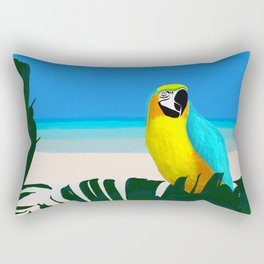 Parrot Tropical Banana Leaves Design Rectangular Pillow