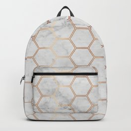 Honeycomb Marble Rose Gold #358 Backpack