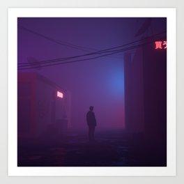 Fog Buildings Art Print