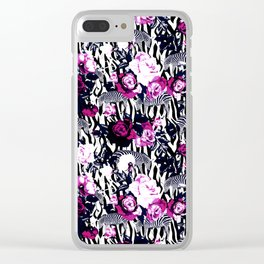 Zebras among roses Clear iPhone Case