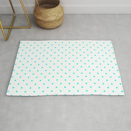 Small Aqua Blue Polka dots Background Rug