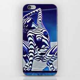 9124s-KMA Powerful Nude Woman Open and Free Striped in Blue iPhone Skin