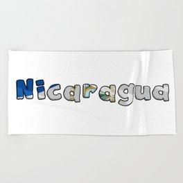 Nicaragua Font with Nicaraguan Flag Beach Towel